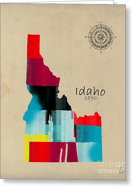 World Digital Map Greeting Cards - Idaho State Map Greeting Card by Bri Buckley