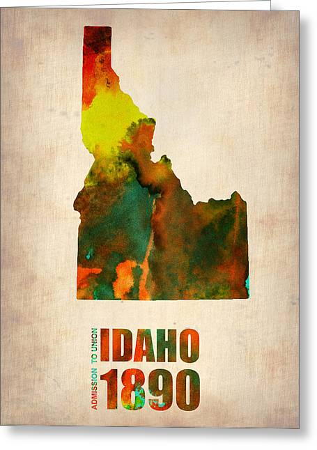 Idaho Greeting Cards - Idaho Watercolor Map Greeting Card by Naxart Studio