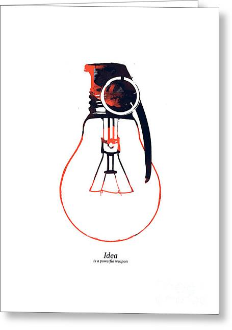 Minimalist Greeting Cards - Idea is a powerful weapon Greeting Card by Budi Kwan