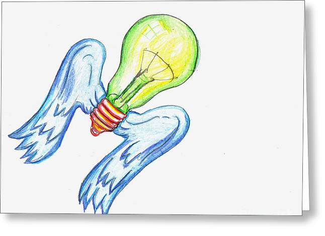 Hypothesis Drawings Greeting Cards - Idea Takes Flight Greeting Card by Feile Case