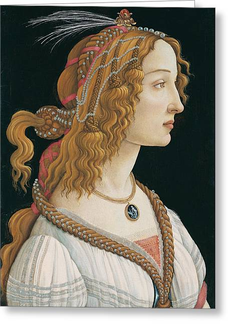 Idealized Greeting Cards - Idealized Portrait of a Lady.Portrait of Simonetta Vespucci as Nymph Greeting Card by Sandro Botticelli