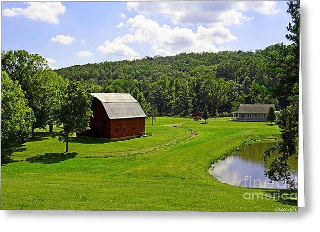 Shed Greeting Cards - Idelic Farm Landscape Greeting Card by Debbie Portwood