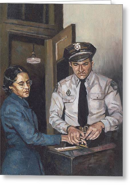 Civil Rights Paintings Greeting Cards - Identification Rosa Greeting Card by Colin Bootman