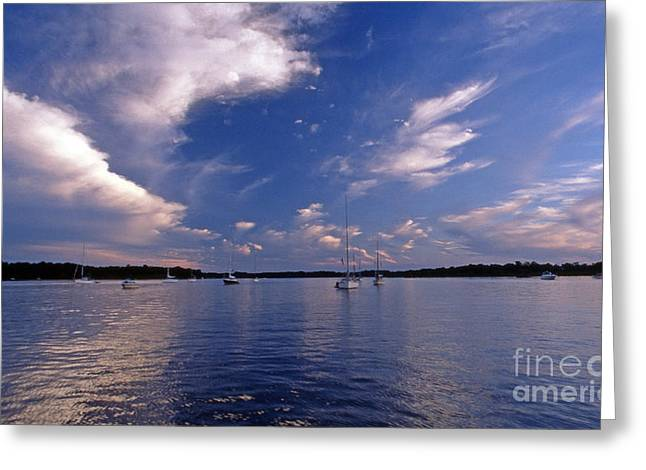 Sailing Boat Greeting Cards - Idle Harbor Greeting Card by Skip Willits