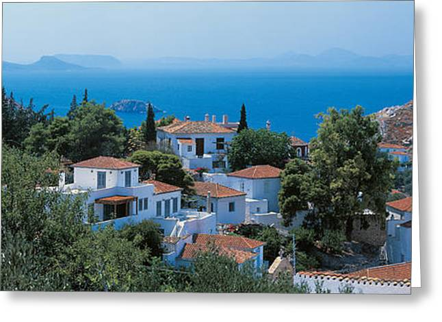 Small Towns Greeting Cards - Idra Island Greece Greeting Card by Panoramic Images