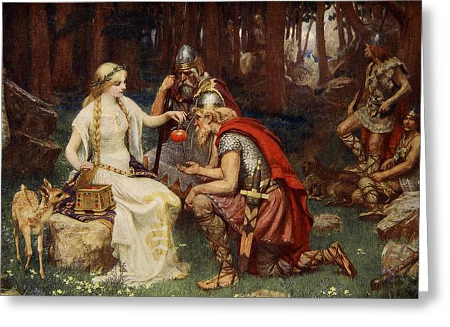 Idun And The Apples, Illustration Greeting Card by James Doyle Penrose