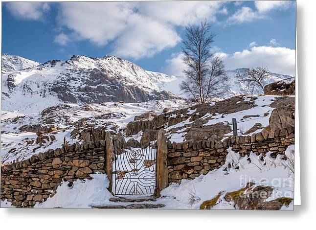 Gate Landscape Greeting Cards - Idwal Gate Greeting Card by Adrian Evans