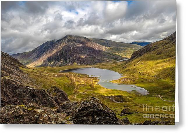 Cwm Idwal Greeting Cards - Idwal Lake Snowdonia Greeting Card by Adrian Evans