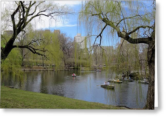 Rowing In Central Park Greeting Cards - Idyllic Spring Day in Central Park Greeting Card by Muriel Levison Goodwin