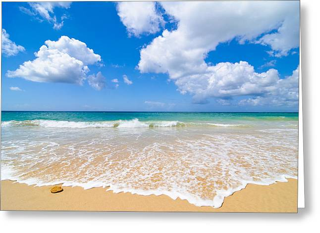 Algarve Greeting Cards - Idyllic Summer Beach Algarve Portugal Greeting Card by Amanda And Christopher Elwell