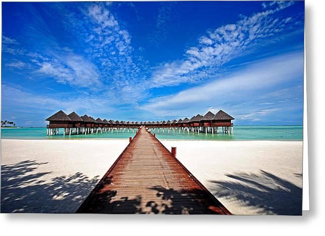 Maldivian Greeting Cards - Idyllic Symmetry. Water Villas. Maldives Greeting Card by Jenny Rainbow