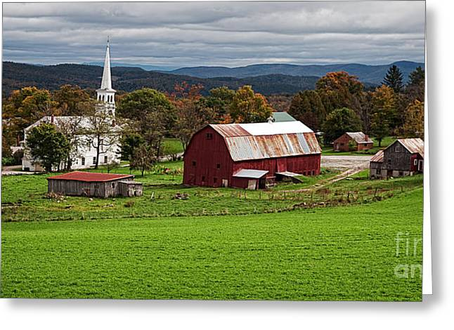 New England Village Photographs Greeting Cards - Idyllic Vermont Small Town Greeting Card by Edward Fielding