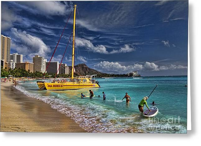 Idyllic Waikiki Beach Greeting Card by David Smith