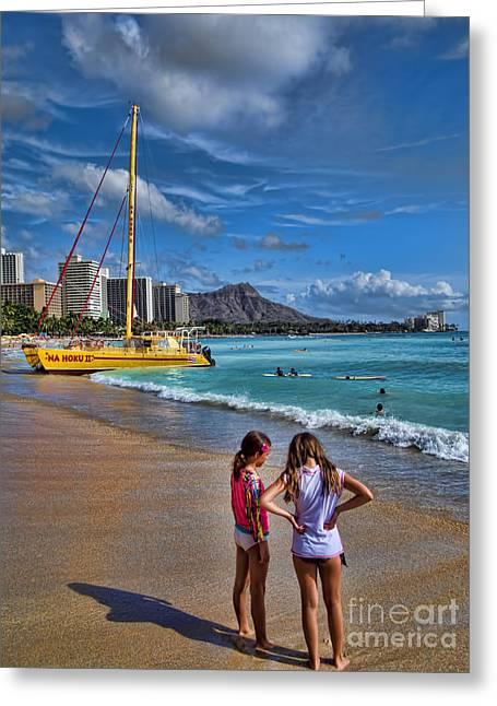 Catamaran Greeting Cards - Idyllic Waikiki Beach No 2 Greeting Card by David Smith