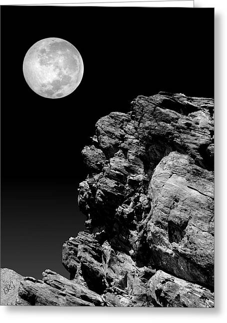 Rugged Terrain Greeting Cards - Idyllwild Full Moon And A Rock Night Scene Greeting Card by Ben and Raisa Gertsberg
