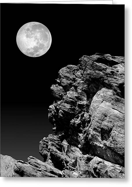 Idyllwild Greeting Cards - Idyllwild Full Moon And A Rock Night Scene Greeting Card by Ben and Raisa Gertsberg