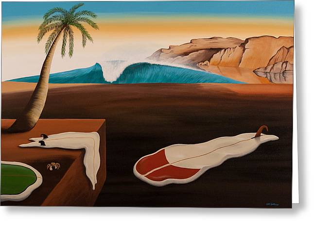 Dali Inspired Greeting Cards - If Dali Was a Surfer... Greeting Card by Matthew Haddaway