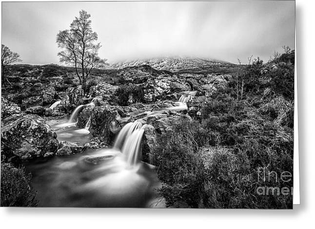Black And White Waterfall Greeting Cards - If heaven were a place Glen Etive Greeting Card by John Farnan