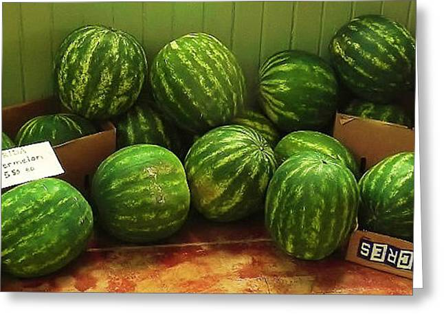 Watermelon Greeting Cards - If I Had A Watermelon Greeting Card by Patricia Greer