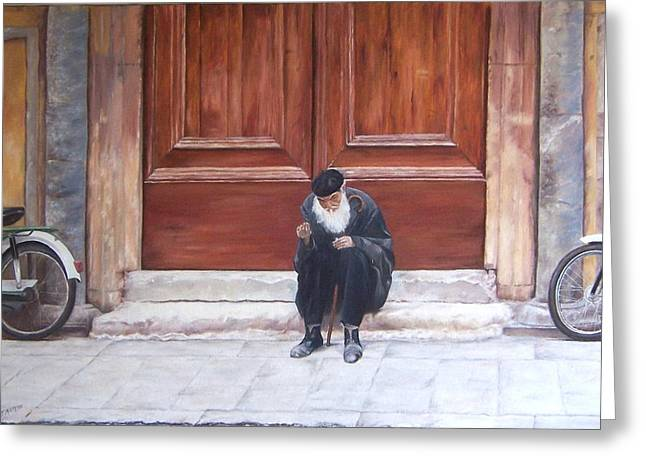 Beret Greeting Cards - If I were a rich man Greeting Card by Jan Matson