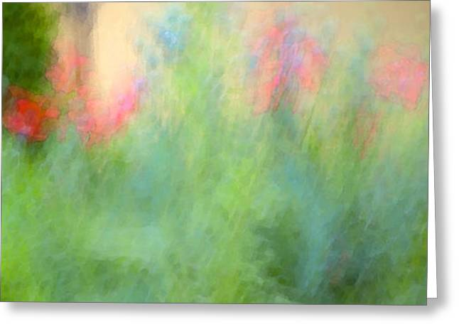 Floral Digital Art Greeting Cards - If My Front Yard Was Giverny Greeting Card by Theresa Tahara