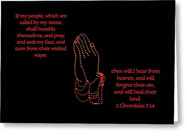 Praying Hands Greeting Cards - If my people Greeting Card by Debbie Nobile