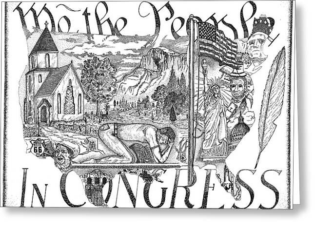 Declaration Of Independence Drawings Greeting Cards - If My People Greeting Card by Glenn McCarthy Art and Photography