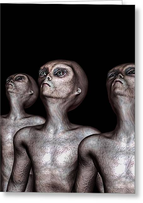 Abduction Digital Art Greeting Cards - If One Was Three Greeting Card by Bob Orsillo