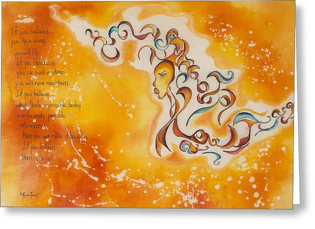 Afrocentric Art Greeting Cards - If You Believe Greeting Card by Roxane Tracey