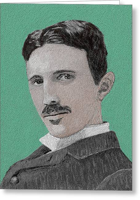 Edison Paintings Greeting Cards - If You Could Read My Mind...Tesla Greeting Card by GCannon