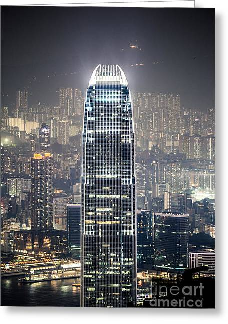 Kowloon Greeting Cards - IFC tower and city of Hong Kong at night Greeting Card by Matteo Colombo
