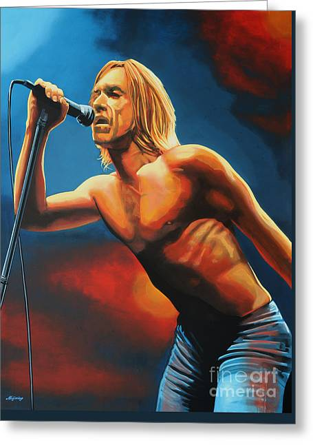 Famous Greeting Cards - Iggy Pop Greeting Card by Paul  Meijering