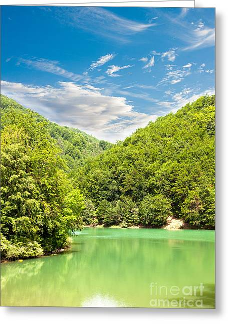 Carpathian Mountains Greeting Cards - Ighiel Lake Greeting Card by Gabriela Insuratelu