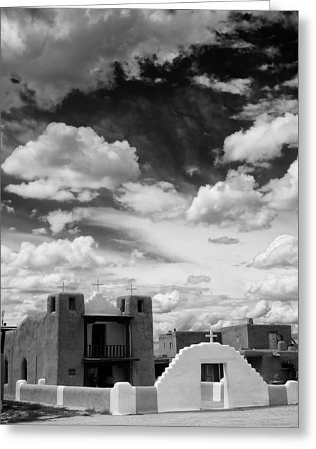 Taos Photographs Greeting Cards - Iglesita de Pueblo de Taos - New Mexico Greeting Card by Silvio Ligutti