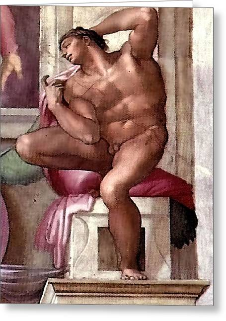 Michelangelo Greeting Cards - Ignudo Number Eight of 1511 Greeting Card by Michelangelo Buonarroti