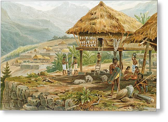 Hut Greeting Cards - Igorrote Farm In Luzon, Philippines, From The History Of Mankind, Vol.1, By Prof. Friedrich Ratzel Greeting Card by Hans Meyer