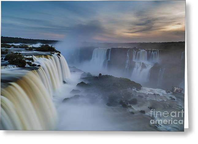 Brasil Greeting Cards - Iguacu Falls Sunset Majesty Greeting Card by Mike Reid