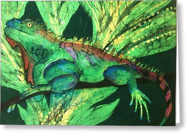 Shade Tapestries - Textiles Greeting Cards - Iguana Greeting Card by Kay Shaffer