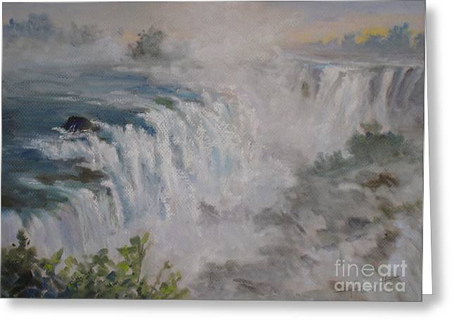 Spectacular Paintings Greeting Cards - Iguazu Falls Greeting Card by Mohamed Hirji