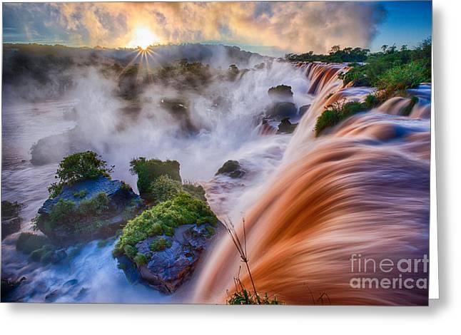 Rage Greeting Cards - Iguazu Sunrise Greeting Card by Inge Johnsson
