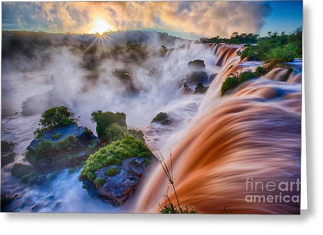 Pacific Northwest Rivers Greeting Cards - Iguazu Sunrise Greeting Card by Inge Johnsson