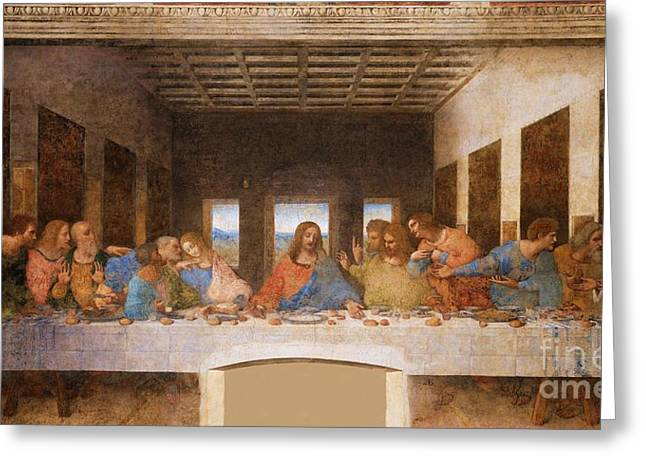 Last Supper Greeting Cards - II Cenacolo Greeting Card by Pg Reproductions