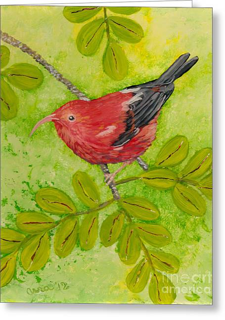 Fauna Glass Art Greeting Cards - Iiwi Greeting Card by Anna Skaradzinska