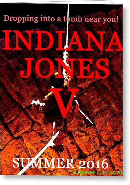 Indiana Art Digital Art Greeting Cards - IJ FIVE movie flyer work A Greeting Card by David Lee Thompson