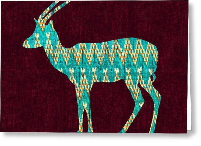 Navajo Greeting Cards - Ikat Antelope Greeting Card by Budi Kwan