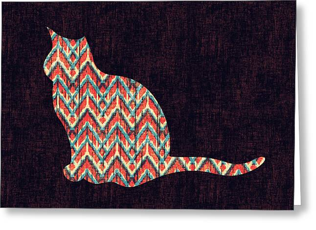 Illustration Greeting Cards - Ikat Cat Greeting Card by Budi Kwan