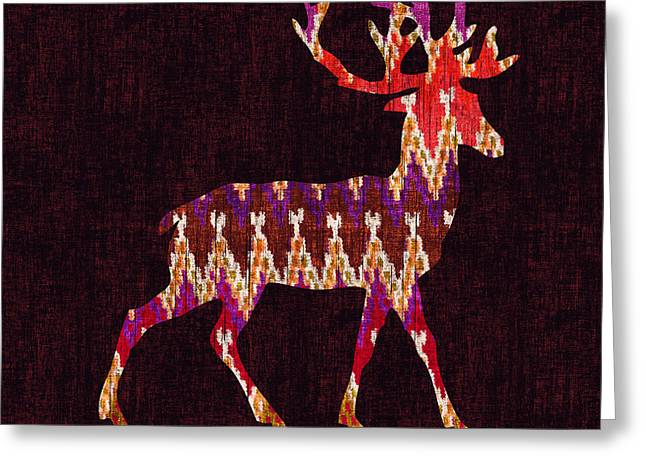 Rustic Digital Greeting Cards - Ikat deer Greeting Card by Budi Kwan