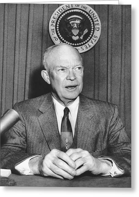 Ike Supports Radio Free Europe Greeting Card by Underwood Archives