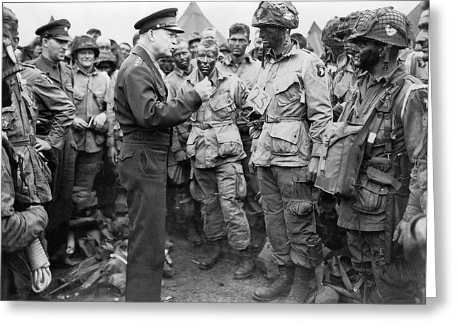 Ike With D-day Paratroopers Greeting Card by Underwood Archives