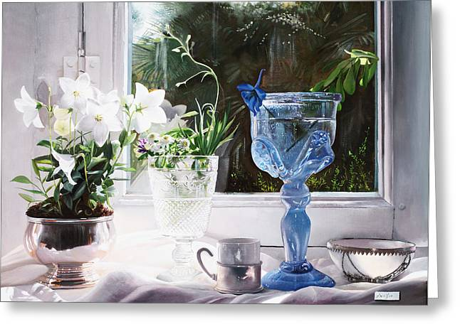 Glass Cup Greeting Cards - Il Calice Blu Greeting Card by Danka Weitzen